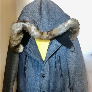 Zara Man Insulated Winter Coat With Attached Parka